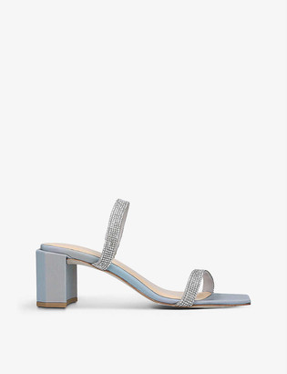 BY FAR Tanya crystal-embellished heeled leather mules
