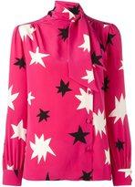 Saint Laurent star print pussy bow blouse