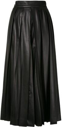 GOEN.J Faux Leather Pleated Wide-Leg Trousers