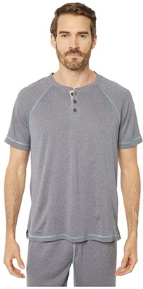 Tommy Bahama Poly Wicking Double Knit Henley (Heather Grey) Men's Clothing