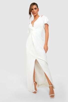boohoo Bridesmaid Occasion Sequin Knot Front Maxi Dress