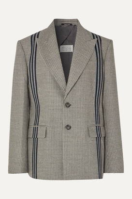 Maison Margiela Oversized Striped Houndstooth Wool Blazer - Gray