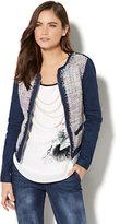 New York & Co. Soho Jeans - Metallic Tweed-Accent Denim Jacket