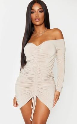 Bardot Ah Shape Sand Slinky Ruched Midi Dress