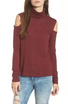 Pam & Gela Women's Pam Gela Cold Shoulder Turtleneck Tunic Sweater