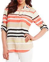 Calvin Klein Variegated Stripe Printed Crepe de Chine Roll-Tab Sleeve Blouse