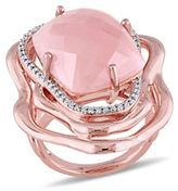 Catherine Malandrino Bon Vivant 18K Rose Goldplated Quartz and Diamonds Floral Cocktail Ring