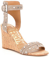 Dolce Vita Dante Suede Studded Banded Ankle Strap Wedge Sandals