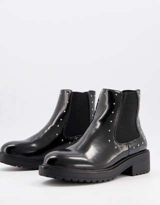 Miss Selfridge flat chelsea boots with stud detail in black