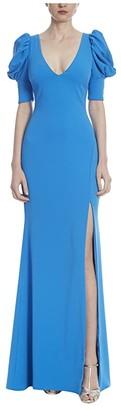 Badgley Mischka 3-D Sleeve Gown (Caribbean Blue) Women's Dress