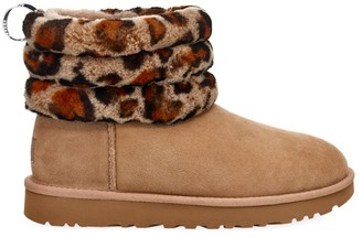 UGG Mini Fluff Quilted Leopard-Print Sheepskin-Lined Suede Boots