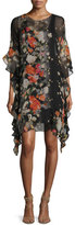 Fuzzi 3/4-Sleeve Floral-Print Ruffled Silk Shift Dress, Black