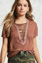 Forever 21 Plunging Lace-Up Tee