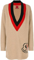 Moncler Gamme Rouge deep plunge jumper with logo