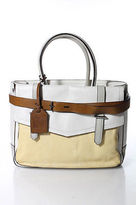 Reed Krakoff Multi-Color Color Blocked Leather Buckle Front Satchel Handbag