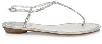 Rene Caovilla Diana Crystal-Embellished Leather T-Strap Sandals
