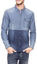 True Religion Men's Long Sleeve Color Block Woven Shirt
