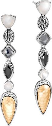 John Hardy Classic Chain Multi Stone Linear Drop Earrings