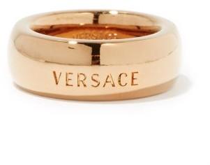 Versace Logo-engraved Metal Ring - Gold