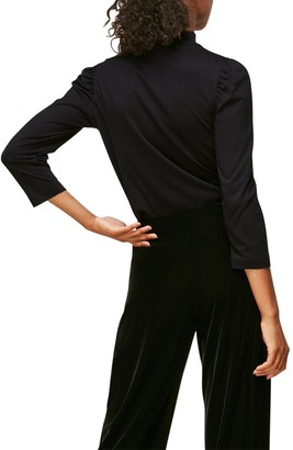 Whistles High Neck Puff Sleeve Top - Black