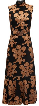Andrew Gn Floral-brocade Silk-blend Midi Dress - Black Gold