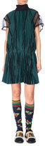 Sacai Pleated Drop-Waist Satin Dress, Green