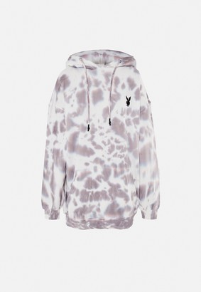 Missguided Playboy X Charcoal Tie Dye Hoodie Dress
