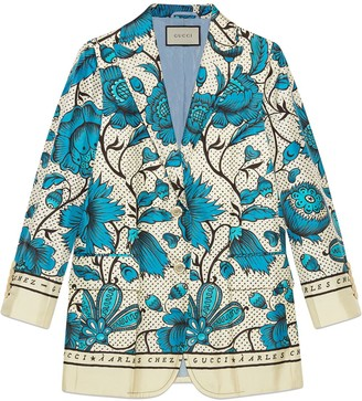 Gucci Silk jacket with watercolor flowers