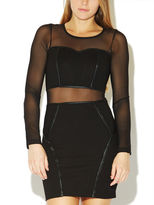 Arden B Piped & Mesh Panel Dress