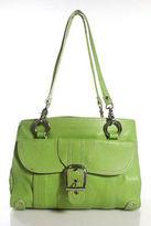 Isabella Fiore Green Leather Silver Tone Double Strap Shoulder Handbag