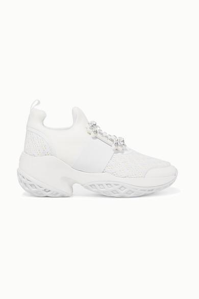 Roger Vivier Viv Run Crystal-embellished Neoprene, Mesh And Leather Slip-on Sneakers - White