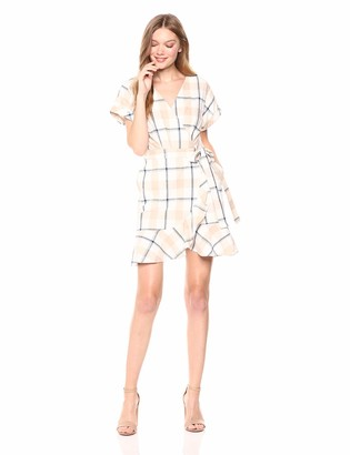 J.o.a. Women's Plaid Short Sleeve Mini Wrap Dress with Ruffle Detail