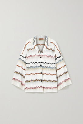 Missoni Oversized Striped Crochet-knit Cotton-blend Shirt - White