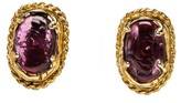 Chanel Gold Tone Vintage Purple Embellishment Clip On Earrings