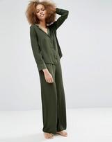 Asos Newton Satin Jacquard Spot Shirt & Wide Leg Pajama Set