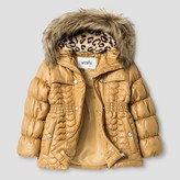 Toddler Girls' Stevies Metallic Quilted Parka Coat Gold