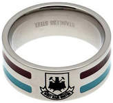 West Ham United Stainless Steel West Ham Striped Ring - Size U