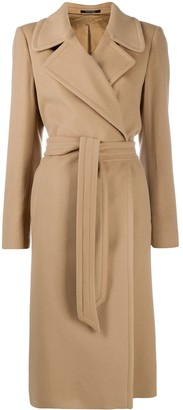 Tagliatore Long Sleeve Belted Trench Coat