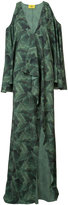 Baja East banana leaf print cold shoulder dress - women - Polyester - 0