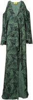 Baja East banana leaf print cold shoulder dress - women - Polyester - 0