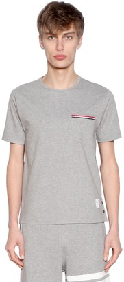 Thom Browne STRIPED POCKET COTTON JERSEY T-SHIRT