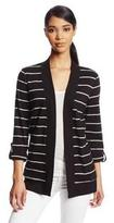 Jones New York Women's Open Front Striped Cardigan, Black/Shell, X-Large