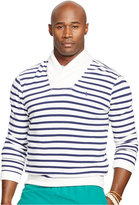 Polo Ralph Lauren Big and Tall Striped Shawl-Collar Terry Pullover