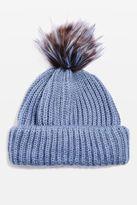 Faux fur pompom beanie hat