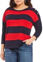 Westbound Plus 3/4 Sleeve Grommet Sweater