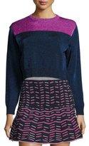 M Missoni Metallic Colorblock Crewneck Sweater, Ink