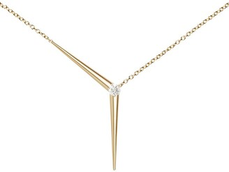 Melissa Kaye Yellow Gold and Diamond Aria Y Necklace
