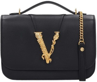 Versace Hand Bag In Black Leather