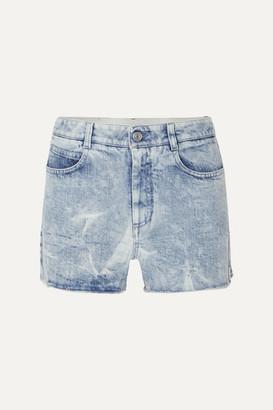 Stella McCartney Net Sustain Embroidered Distressed Denim Shorts - Blue