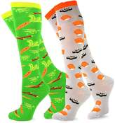 Teeheesocks TeeHee Women Food Theme Knee High Socks for Women - Veggie & Sushi